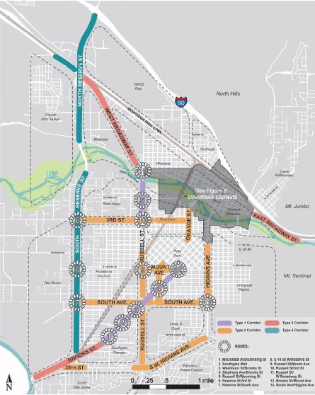 Map of Commercial Corridors identified in Design Excellence Project