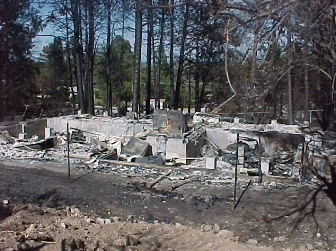 Home burnt to the ground following wild fire.