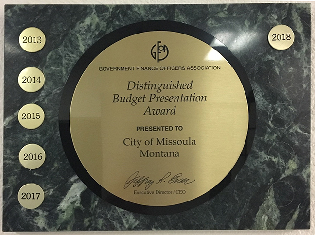 Distinquished Budget Presentation Award plaque